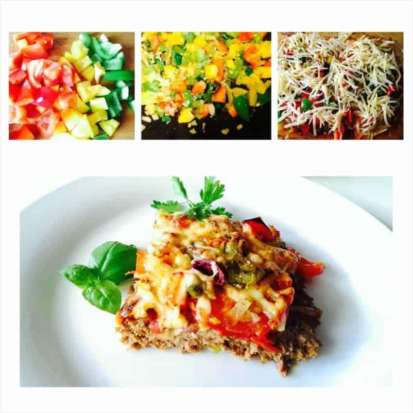 Hackpizza mit Gemüse ohne Teig