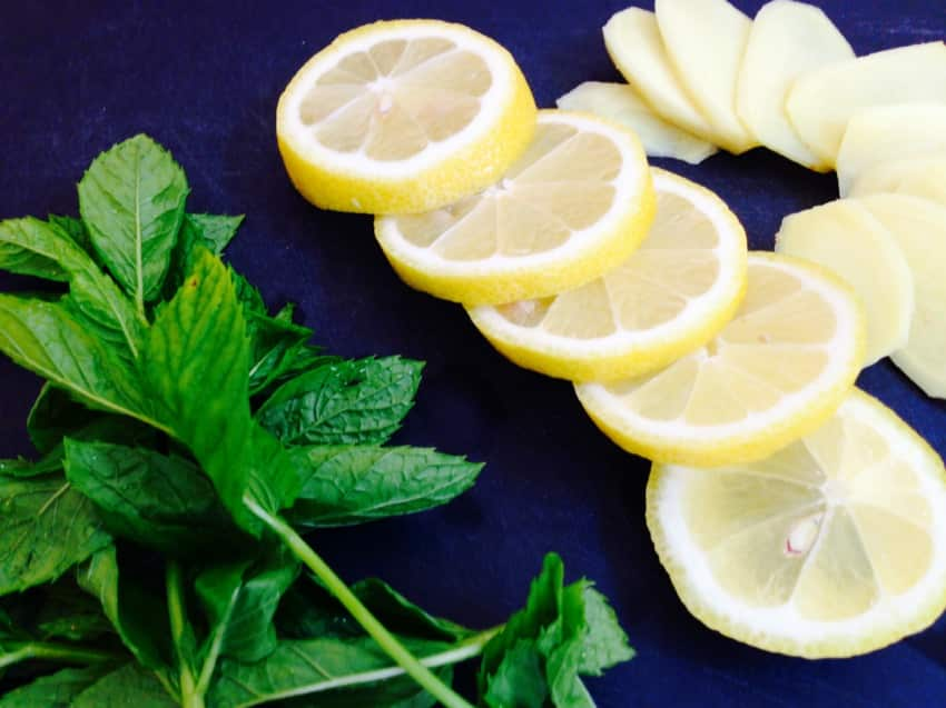 Zutaten für die Ingwer-Minzlimonade