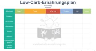 Low Carb Ernährungstagebuch Vorlage zum Ausdrucken