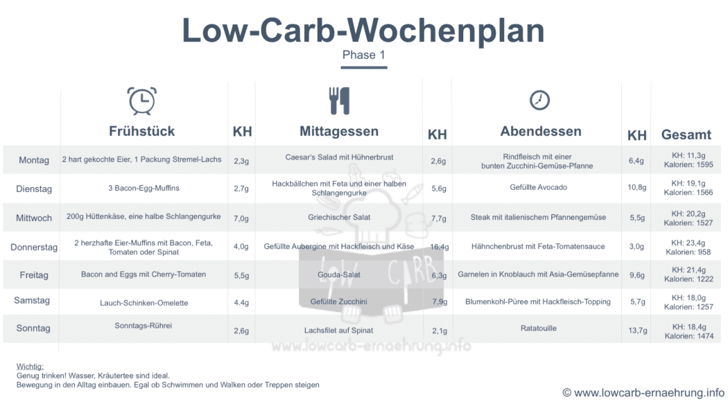 low carb ernhrungsplan atkins phase 1 - Ernahrungsplan Beispiel